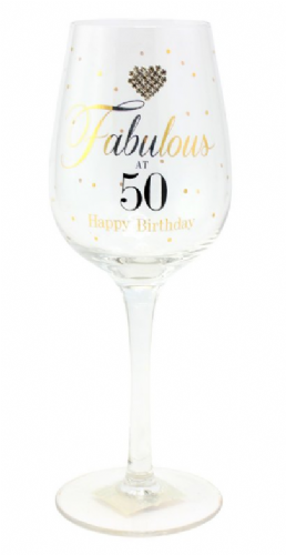 MAD DOTS FAB AT 50 WINE GLASS